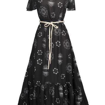 Streetstyle  Casual Off Shoulder High-Low Ruffled Hem Printed Chiffon Maxi Dress