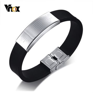 Vnox 16mm Wide AUM OM Prayer Bracelet for Men Personalize Engraving Stainless Steel Tag Silicone Bangle