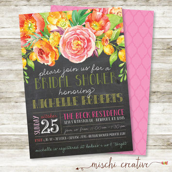 "Sunny and Summery Chalkboard, Country Chic Watercolor Floral Bridal Shower Invitation in Yellows, Pinks, Corals and Greens, 5"" x 7"""