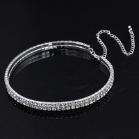 Diamond Crystal Choker Necklace Stretch 2 Row Rhinestone Choker