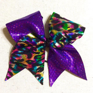 Metallic Purple with Rainbow Foil Cheetah Cheer Bow Tick Tock