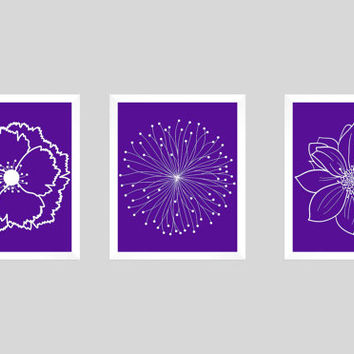 Set of 3 White Flower Blossoms on Eggplant Prints CUSTOM COLORS Modern Art Prints for Nursery Decor Colors Modern prints  8x10