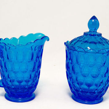Blue Fenton Thumbprint Creamer and Sugar Set