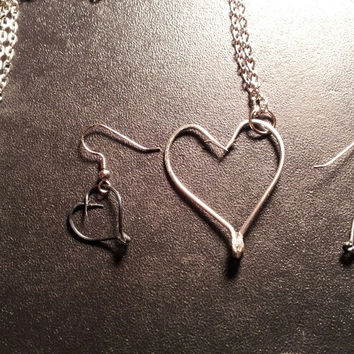 Silver hook heart set  tackle fishing hook jewelry set. comes with earrings & necklace