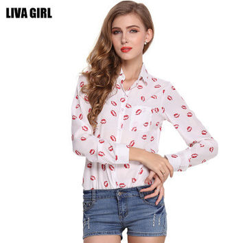 Women Chiffon Floral Printed Floral Printed Long Sleeve Shirt Blouse _ 10609