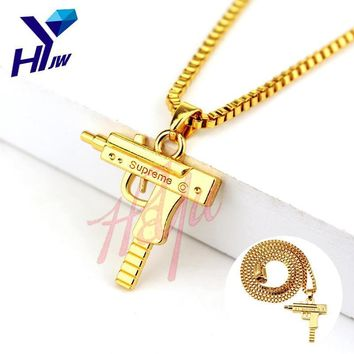 HEYu Pistol Gun SUPREME Uzi Necklace Star Jewelry Men Hip Hop Dance Charm Franco Chain