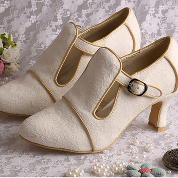 Custom handmade ivory or white Vintage Lace Bridal wedding satin Buckle strap ankle winter boot - 4 colours!