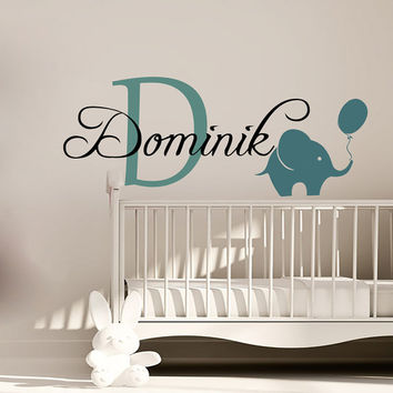 Wall Decals Personalized Name Decal Vinyl Sticker Elephant Balloon Boy Baby Children Nursery Bedroom Decor Home Playroom Art Murals MN493