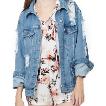 LE3NO Womens Oversized Vintage Distressed Denim Jacket with Pockets