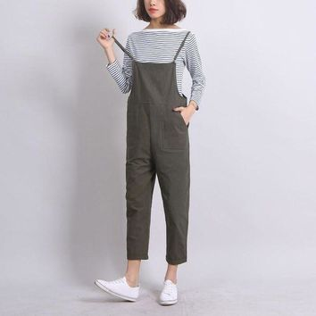 DKLW8 Ankle-Length Women Loose Suspender Trousers Solid Color Casual High Waist Overalls Autumn Summer Jumpsuits Female Long Pants