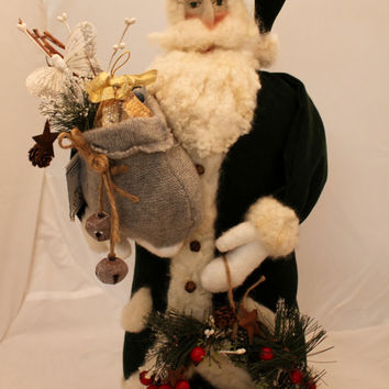 "Santa, 24"" Forest Green, Needle Felted Santa Claus"