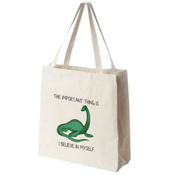"Loch Ness Monster Color Full Body ""I Believe in Myself"" Design Extra Large Eco Friendly Reusable Cotton Canvas Tote Bag"