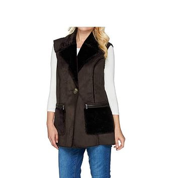 Susan Graver Faux Shearling Vest with Front Pockets