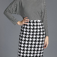 Long Sleeve Houndstooth Mini Pencil Dress