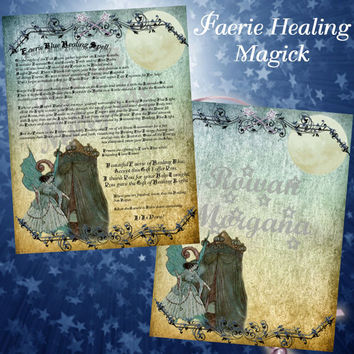 FAERIE BLUE HEALING Spell, Digital Download,  White Magick Spell, Book of Shadows Page, Grimoire, Scrapbook, Spells