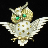 CROWN TRIFARI Vintage 1960s Horned Owl Figural Brooch