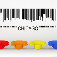 Chicago Skyline, Barcode, Illinois - Decal, Sticker, Vinyl, Wall, Home, Office, Bachelor Pad Decor
