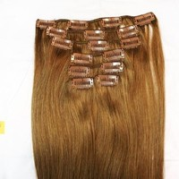 "20"" 70gram 7pcs 100% Remy Clip in Human Hair Straight Extensions Golden Brown Real Human Hair #12"
