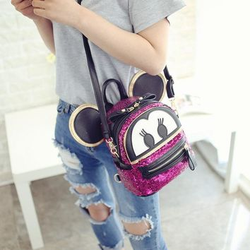 Student Backpack Children 2018 New Child Cartoon Backpack Cute Mickey M Letter Bag for Women Sequined Leather Double Strap Backpack School Bag Student Bag AT_49_3