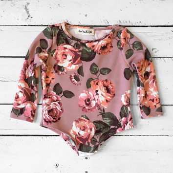 Girls Floral Bodysuit