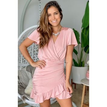 Dusty Rose Short Dress with Ruffles