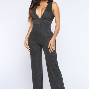 In His Vision Lurex Jumpsuit - Black/Silver