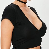 Missguided - Black Jersey V Neck Capped Sleeve Crop Top