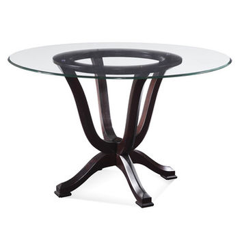 Bassett Mirror Serenity Round Glass Pedestal Dining Table in Tobacco