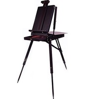"""Black Cherry Coronado French Style Easel & Sketchbox with 12"""" Drawer, Wooden Pallete & Shoulder Strap"""