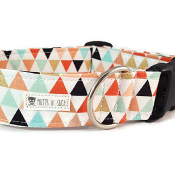 Geometric Dog Collar - Tribal Dog Collar - Coral and Mint - Girl Dog Collar - Gold and Black - Wanderer - Metal Buckle - Martingale Collar