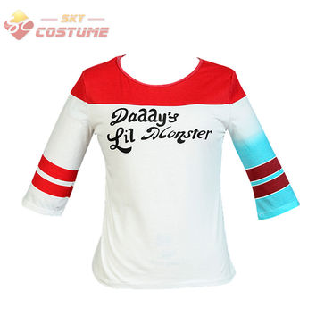 Batman Harley Quinn Suicide Squad Daddy's Lil Monster T Shirt Halloween Joker Shirts Cosplay Costumes For Adult Women Female