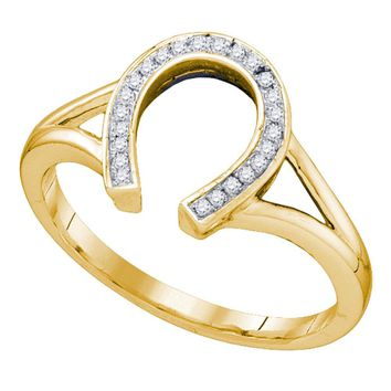 10kt Yellow Gold Womens Round Diamond Horseshoe Lucky Ring 1/12 Cttw