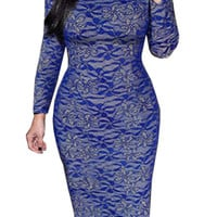 Blue Floral Lace Long Sleeve Bodycon Midi Dress
