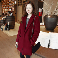 New Fashion Autumn Winter Woolen Coats Women Wool Blends Lapel Trench Ladies Long Sleeve Pockets Pon