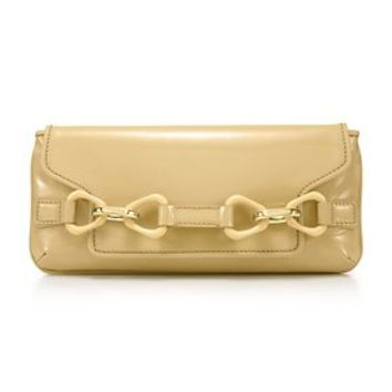Tiffany & Co. -  Babette clutch in light camel patent leather. More colors available.