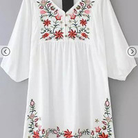 White V Neck Hibiscus Embroidered Loose Dress [6880157767]