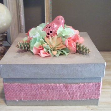 Coral and Green Wedding Card Box with Bird Hydrangeas Succulents and Burlap