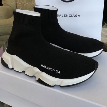 NIB BALENCIAGA BLACK SPEED TRAINER UNISEX SNEAKER KNIT SOCK BOOTS 41
