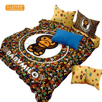 Lisipieces-100% Cotton Textile Tide Brand Active Cartoon Four Piece Bape Camo Bedding Set Personality Free Shopping Full/Queen/King Size