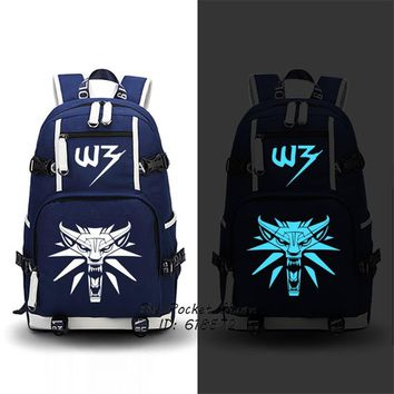 High Quality 2017 New Game The Witcher 3: Wild Hunt Printing Backpack Men Travel Bags Canvas Oxford School Bags Laptop Backpack