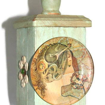 Fence Post Finial - Art Nouveau - Upcycled - Recycled Materials - Handmade - Hand Painted - Mothers Day Gift