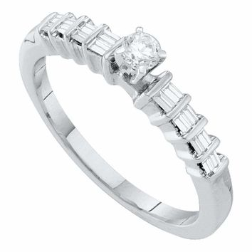 10kt White Gold Womens Round Diamond Solitaire Promise Bridal Ring 1-4 Cttw - FREE Shipping (US/CAN)