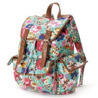 Candie's Floral Cargo Backpack (Green)