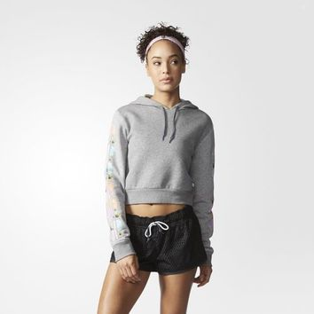 adidas adigirl Fleece Cropped Hoodie - Grey | adidas US