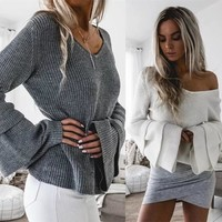 2017 autumn women's fashion stacked stacked sleeves loose v long sleeve female [22394961946]
