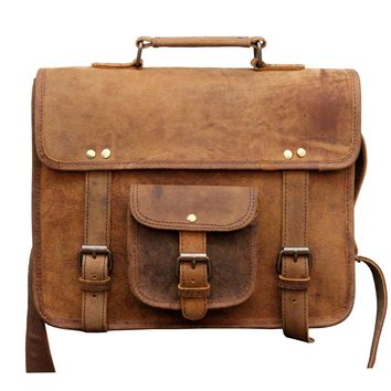 IN-INDIA Buffalo Hunter Leather Cute Regular Use Messenger Satchel Bag- Fits Laptop Upto 13.3 Inches