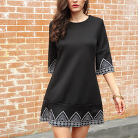 Black Round Neck Embroidered Loose Dress | MakeMeChic.COM