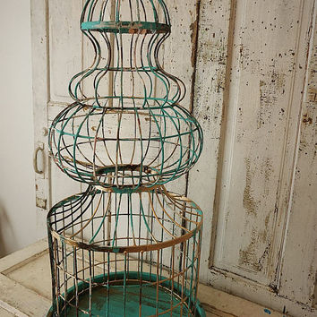 Huge antique spire birdcage rusty painted architectural style shabby cottage chic sculpture bird cage aqua w/ gold decor anita spero design