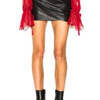 Redemption Draped Leather Skirt in Black | FWRD