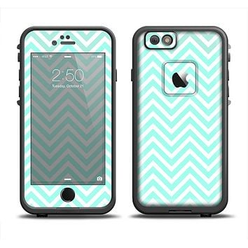 The Light Teal & White Sharp Chevron Apple iPhone 6/6s LifeProof Fre Case Skin Set
